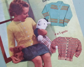 Vintage 1940s Knitting Pattern Girls Children's Cardigans Fair Isle Design Horizontal Stripes 40s original colour pattern - Miladi No 655 UK
