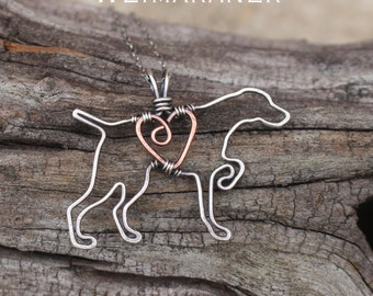 Weimaraner Necklace, Custom Dog Necklace, Sterling Silver Dog, Dog Outline, Wire Jewelry