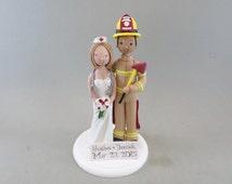 Firefighter & Nurse Custom Handmade Wedding Cake Topper