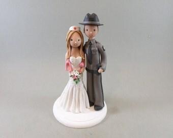 Police Officer & Nurse Custom Handmade Wedding Cake Topper
