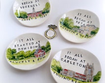 Unique engagement gift ring holder for couple custom portrait from your photo ceramic dish by Cathie Carlson