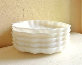 Set of Vintage Milk Glass Fruit Plates Dishes White Grapes Shape