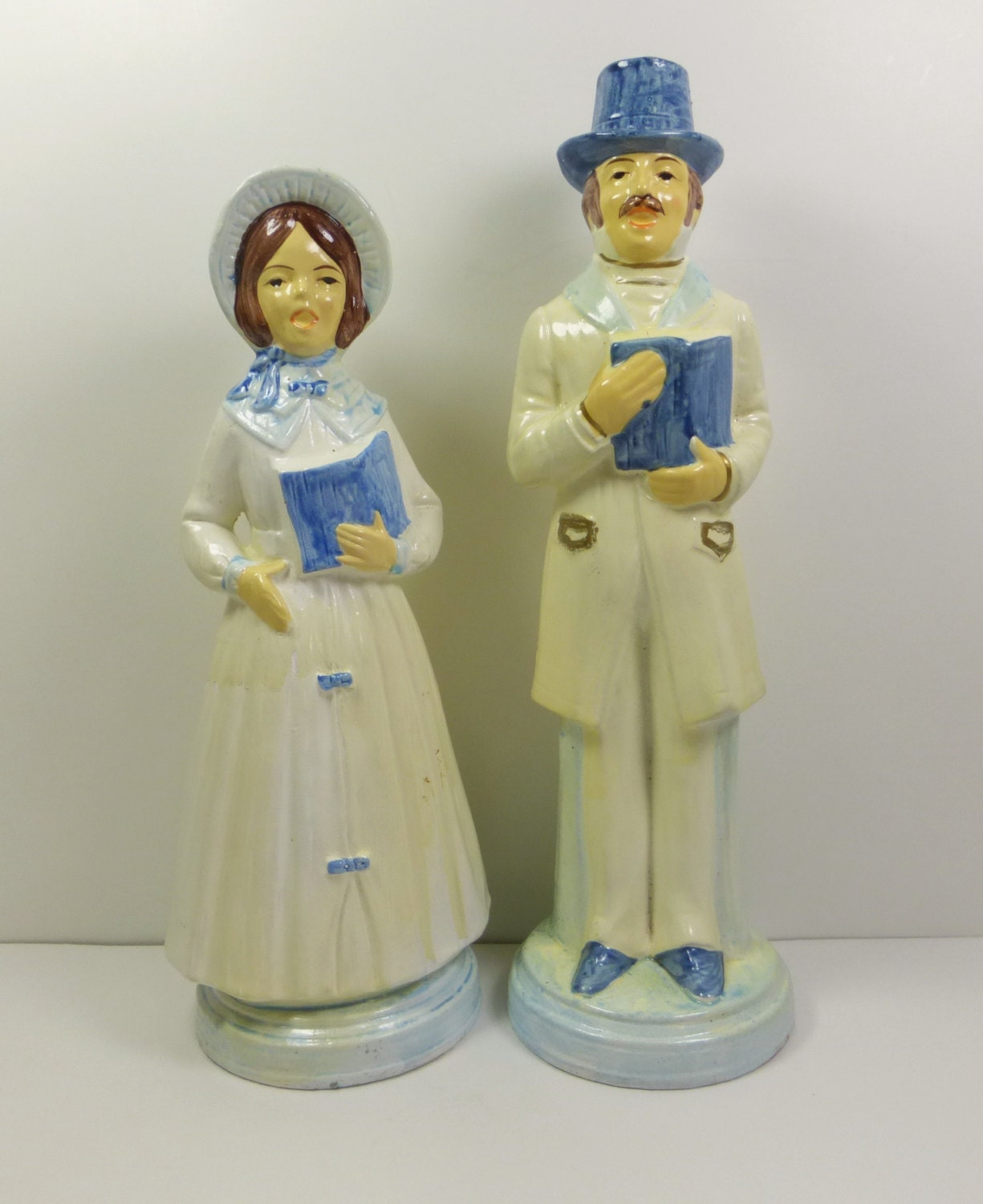 Singing Carolers Candleholders Figurines Vintage By: Victorian Christmas Caroler Figurines Blue And By Naturegirl22