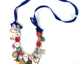Vintage Necklace Antique Items Handmade Necklace Upcycled Necklace Button Necklace Found Objects Buttons Charm Necklace Charm Jewelry