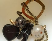 Black Bear Lariat - heart necklace - necklace - boho necklace - gemstone necklace - OOAK necklace - super long lariat - FREE US shipping