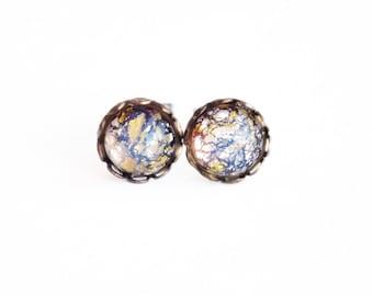 Tiny Amethyst Stud Earrings Vintage Glass Fire Opal Studs Iridescent Purple Tiny Post Earrings Hypoallergenic Amethyst Jewellery