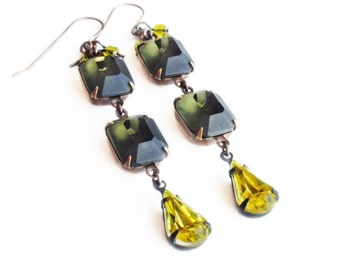 Matte Grey Earrings Vintage Gray Glass Earrings Window Rhinestones Frosted Glass Earrings Gray Olive Yellow