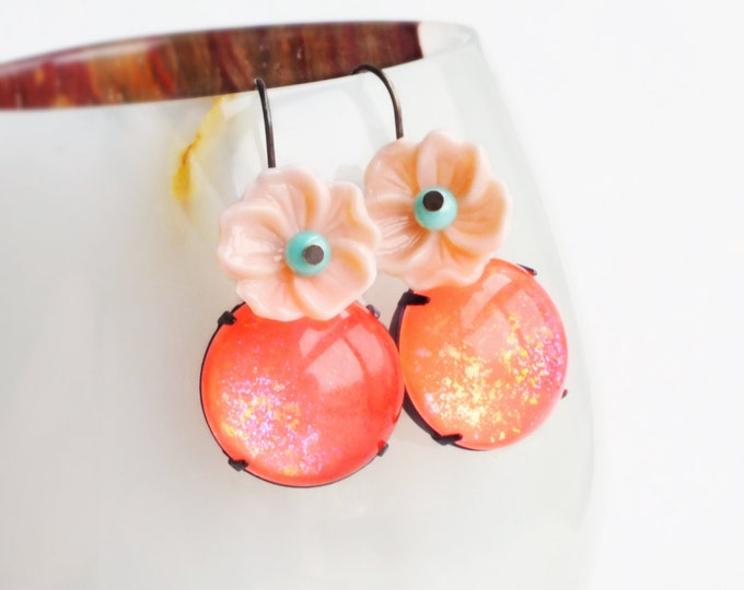 Bright Coral Pink Earrings Neon Peach Earrings Vintage Glass Peach Floral Dangle Earrings Neon Statement Jewelry Colorful Earrings