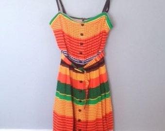 Lovely Striped Silk 80's Sun Dress