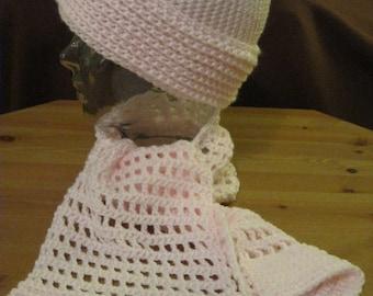 Hat Scarf Set Pale Pink Crochet