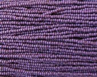 8/0 Opaque Dark Purple Czech Glass Seed Bead Strand (CW35)