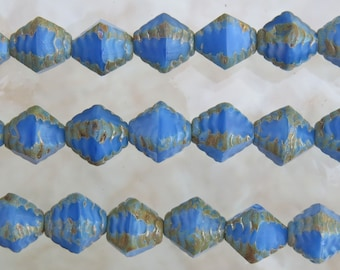 8mm Opaque Denim Blue Picasso Edged Table Cut Firepolish Czech Glass Bicone Beads 7 Inch Strand (BW294)