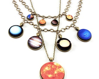Solar System Galaxy Statement Necklaces - gift idea