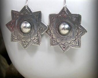 Silver Earrings, Star Earrings, Southwest Jewelry, Bohemian Earrings, Southwest Earrings, Ethnic Earrings, Bohemian Jewelry