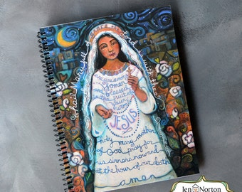 Hail Mary Catholic Journal, spiral-bound notebook with lined paper, gift for Catholic, retreat notebook, writing journal