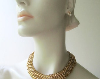 vintage monet goldtone chain choker necklace heavy link dog collar costume jewelry