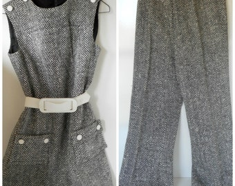 1960s Black and White Tweed Hounds Tooth Dress and Pants Size 11 Vintage