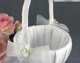 White Rose Wedding Flowergirl Basket - 80275