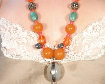 Huge Vintage Agate Bead, Aventurine, Amber, and Sugar Skull Necklace