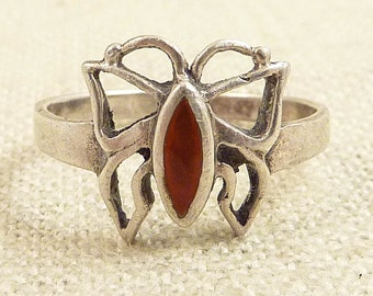 SALE ---- Size 5.5 Vintage Open Sterling Butterfly Ring with Burnt Red Enamel
