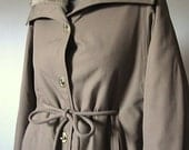 Vintage Brown Canvas Fur Lined Full Length Coat