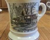 """Currier and Ives Mustache Mug """"Winter In the Country""""  Vintage 1970's Porcelain"""