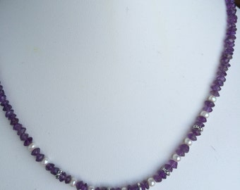 Necklace — Sterling Square Om Charm, Amethyst, Freshwater Pearls