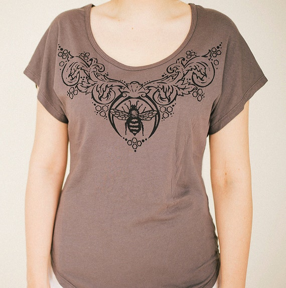 Honey and Lace fluttery dolman shirt  S,M, & L insect bee top bohemian flowy jersey gypsy fashion
