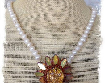 Signed Vintage Weiss Amber Colored Flower Brooch Necklace with Aurora Borealis Finish and Freshwater Pearls