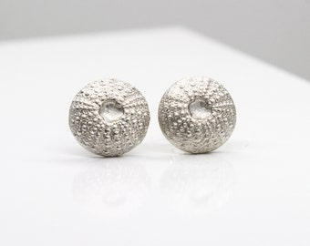 Silver Sea Urchin Earrings, Sea Shell Cast, Fine Silver, Eco friendly, Silver Stud Earrings, Beach, Natural, Matt Finish - URCHIN