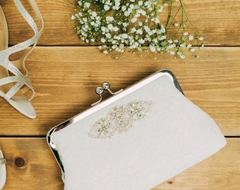 Ivory Bridal Clutch | Lace Clutch | Wedding Gift for Bride | Beaded Wedding Clutch Purse [Beaujolais Clutch: Ivory on Off-White]