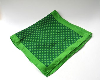 Mid Century vintage Glentex Green Lattice Check Patterned Rayon-Silk Blend Scarf / Made in Japan