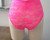 Oh Babe Pink Lace Princess Seamed High Waisted Panties