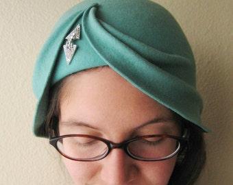 Mint Green Wool Felt Asymmetrical Draped Hat - The Wave Cloche - Art Deco Turban Cloche