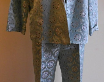 "1960's, 40"" bust, silver/blue Chinese satin brocade pant suit."