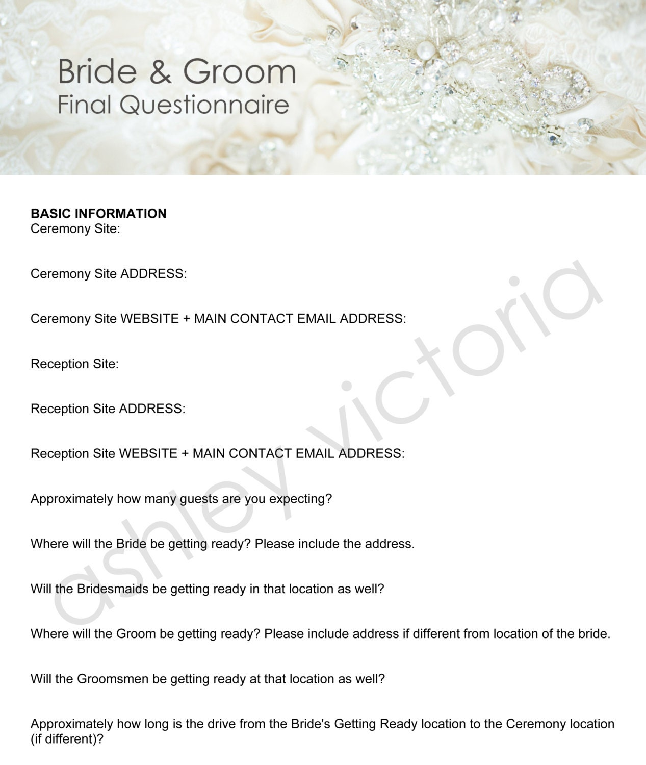 bride  u0026 groom wedding questionnaires for photographers set of