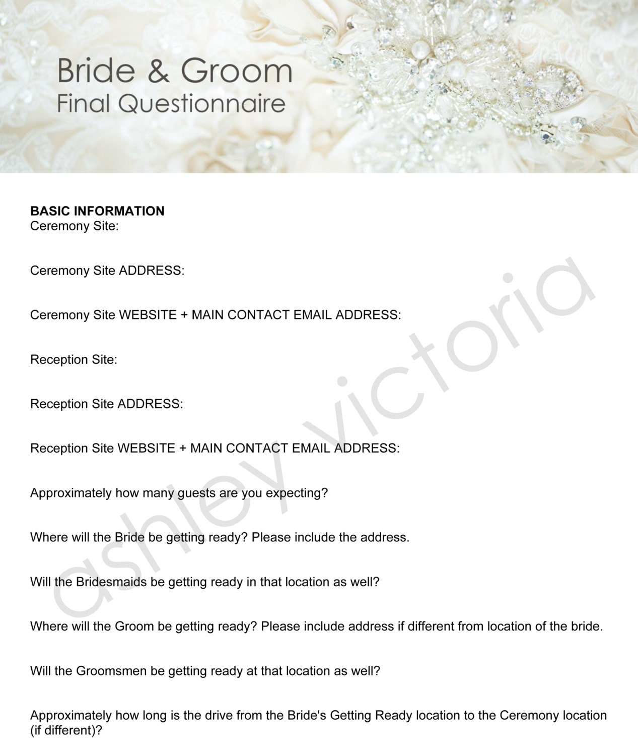 Bride And Groom Questionnaire