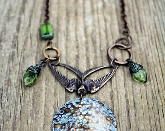 Swallow Necklace, Vintaj Jewelry, Swallow Jewelry, Vintaj Necklace, Bird Jewelry, Hammered Jewelry, Natural Brass, Hand Painted Jewelry