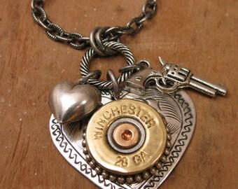 Bullet Jewelry - Shotgun Casing Jewelry - Shot Thru the Heart Necklace - Silver Heart Pendant w/ 28 Gauge Shotgun Casing/Gun & Heart Charm