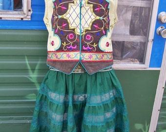 Boho vest, Embroidered vest, Gypsy vest, Festival vest, Denim Vest, size M / L