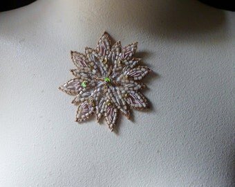 Beaded Applique Exquisite in Creme, Blush & Gold No 11 for Bridal, Pendants, Handbags, Costumes, Jewelry, Home Decor.