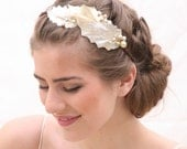 Headband of Metallic Fall Leaves and Wired Champagne Pearls, Adult Hair Accessories, Fall Metallic Headbands