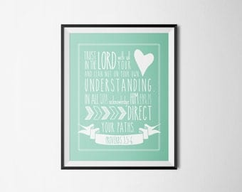 DIY Mint Trust in the Lord with All Your Heart Religious Printable Word Art 8x10 - Typography - Proverbs 3 - Instant Download