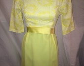 SALE - 1960s Cocktail Dress Yellow Lace Sash Floor Length