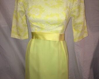 SALE - 1960s Cocktail Dress Yellow Lace Sash Floor Length