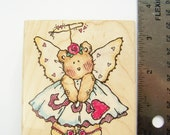 "Valentine Bear Rubber Stamp, Penny Black Holiday Stamp, Valentine Card Stamp, ""Bitty Bear Angel"" 432J, Scrapbooking Supplies, Craft Destash"