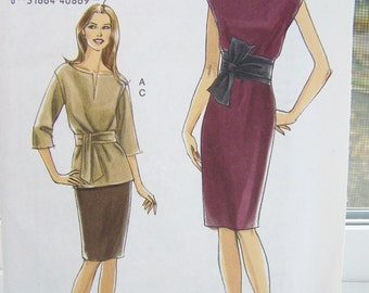 Vogue V8278 Sewing Pattern, Misses' Top, Dress with Sash, Straight Skirt, High Fashion Easy to Sew, Size 6 - 12 Pattern Destash