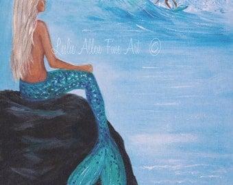 """Mermaid Art Print Mermaid Painting Print Mermaid Wall Art Ocean Surfer Art Print Seascape """"Watching Her Surfer"""" Leslie Allen Fine Art"""