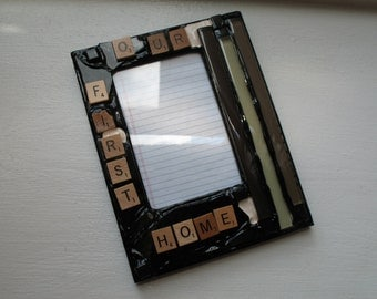 SALE - Scrabble Inspired - Our First Home Picture Frame (holds a 4 x 6 photograph)