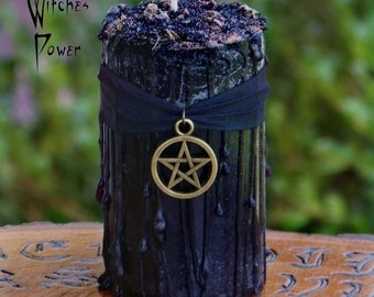 "WITCHES POWER™ ""Old European Witchcraft""™ Drippy Black Pillar Candle with Bronze Pentacle on Silk Ribbon, Dragon's Blood, Mugwort & Myrrh"